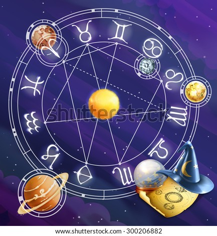 Zodiac signs, vector background - stock vector
