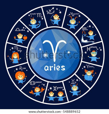 Zodiac signs vector set isolated on dark blue background. Cartoon funny characters. Design elements for calendars or cards.