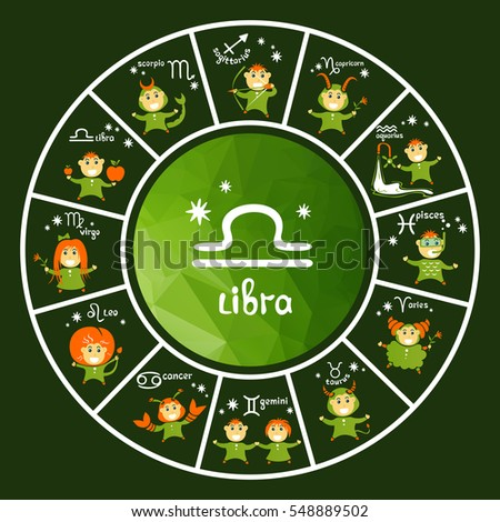 Zodiac signs vector set isolated on green background. Cartoon funny characters. Design elements for calendars or cards.