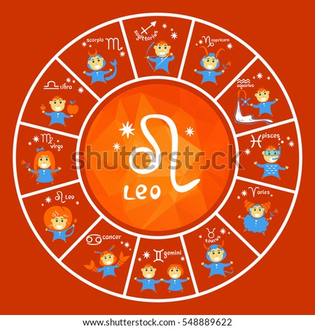 Zodiac signs vector set isolated on red background. Cartoon funny characters. Design elements for calendars or cards.
