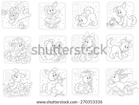 Zodiac signs with a funny pup playing - stock vector