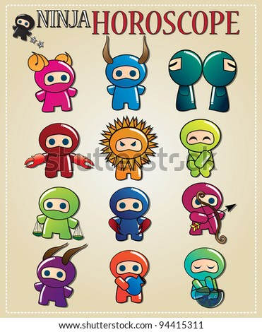 Zodiac signs with cute ninja characters in different colors, vector - stock vector