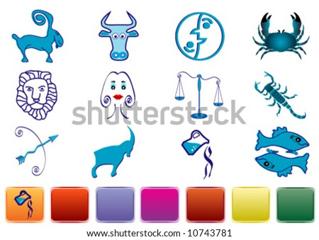 Zodiac signs with various color glossy buttons