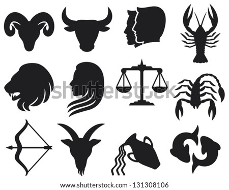 zodiac signs (zodiac - black silhouettes, set of zodiac signs, stylized icons of zodiac signs, set of horoscope symbols, astrology symbols set) - stock vector