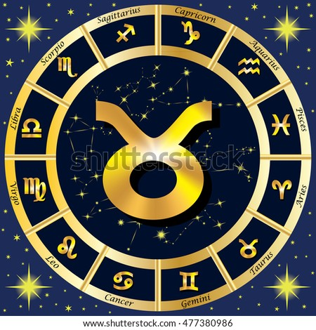 Zodiac Signs, Zodiac constellations. In the center of the sign of Taurus. Vector illustration.
