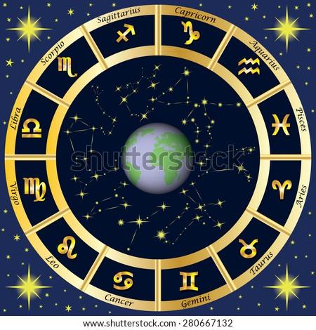 Zodiac Signs, Zodiac constellations. Vector illustration. - stock vector