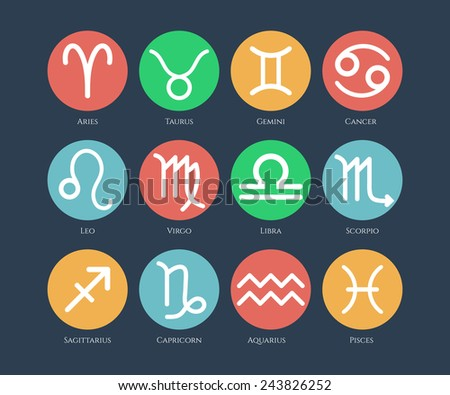 Zodiac symbol icons set  in the color circles on color background. Vector illustration. - stock vector