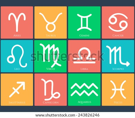 Zodiac symbol icons set in the color squares on dark background. Vector illustration. - stock vector