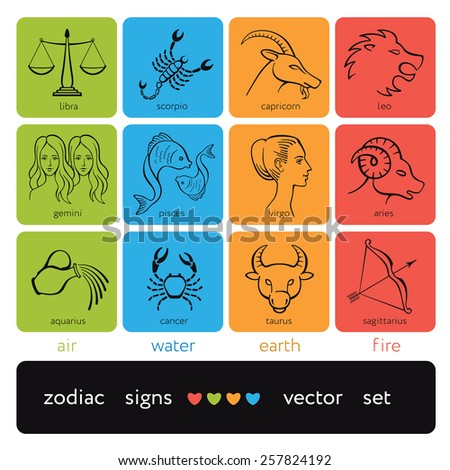 Zodiac symbols - horoscope signs, twelve astrological icons - EPS8 - stock vector