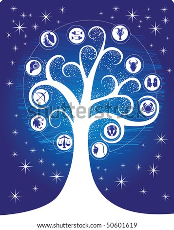 Zodiac tree - stock vector