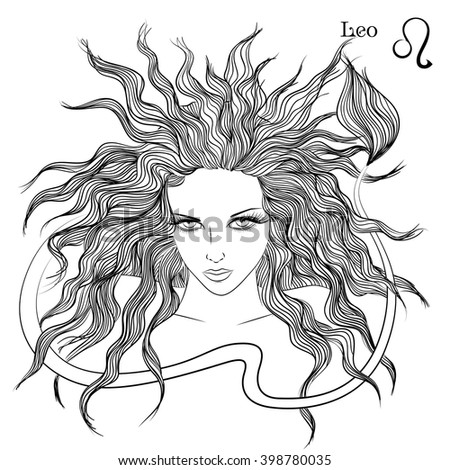 Zodiac vector illustration astrological sign leo stock for Leo coloring pages