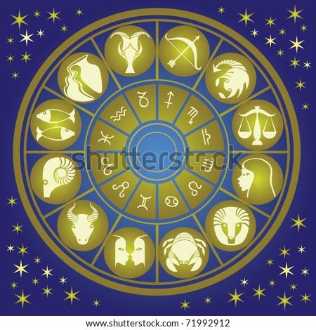 zodiac wheel - stock vector
