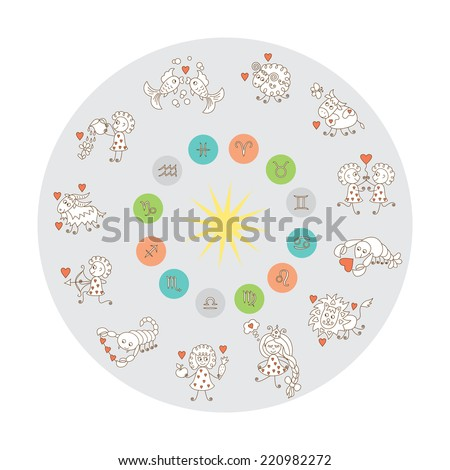Zodiac Wheel. Horoscope. Zodiac Signs.  - stock vector