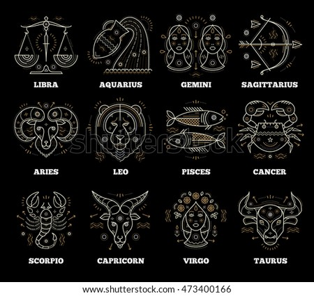 Zodiacal and astrological symbols. Graphic design vector elements.