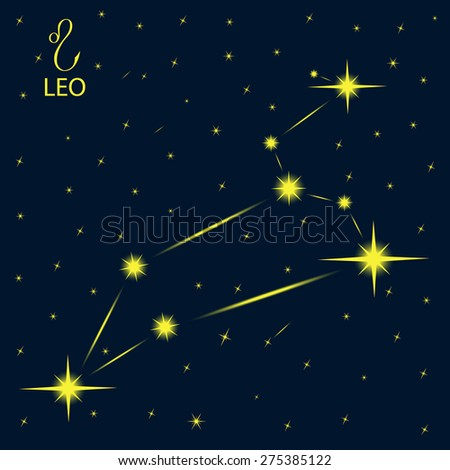 Zodiacal constellations LEO. - stock vector