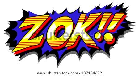Zok - Comic Expression Vector Text - stock vector