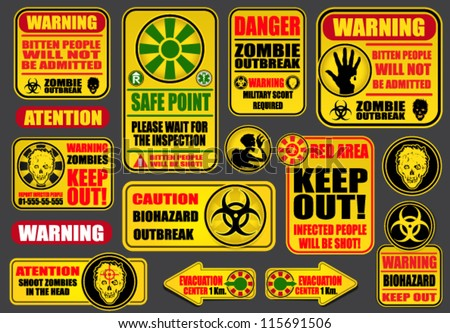 Zombie Apocalypse Signs & Billboards - stock vector