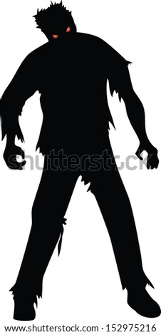 Zombie black silhouette isolated on white - stock vector