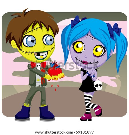 Zombie boy gives girlfriend his bloody heart on Valentine's Day or Halloween date as a love present - stock vector