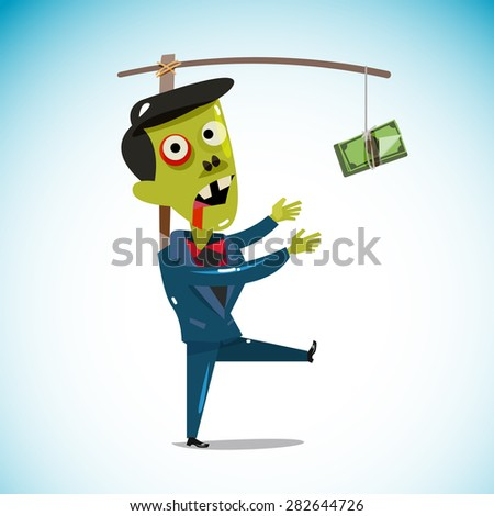 zombie businessman chasing a money hanging from a stick. trying to reach money. working hard for money concept. vector illustration - stock vector