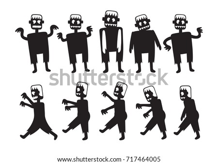 Zombie Cartoon Characters Set Silhouette Black Stock Vector (2018 ...