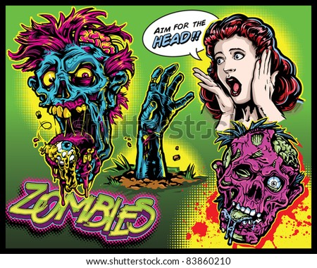 Zombie Comic Set - stock vector