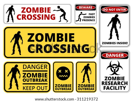 Zombie Crossing Infected  Apocalypse Signs, Symbols and Billboards Vector eps8  - stock vector