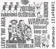 zombie doodles set, hand drawn design elements. vector illustration - stock vector