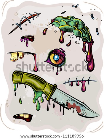 Zombie elements set. Brains, eyes, knife, scratch, scar, flies, blood and mucus. Vector illustrations - stock vector
