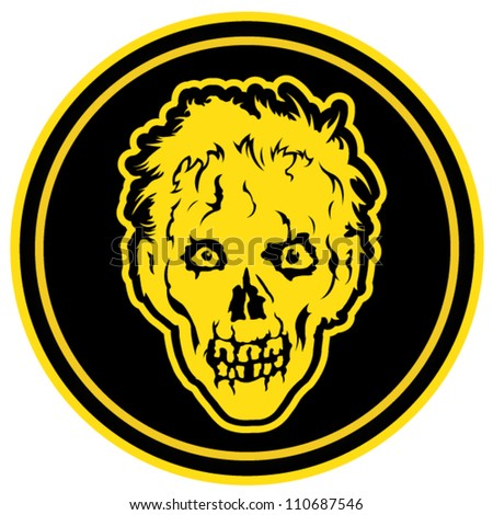 Zombie Face Badge / Seal - stock vector