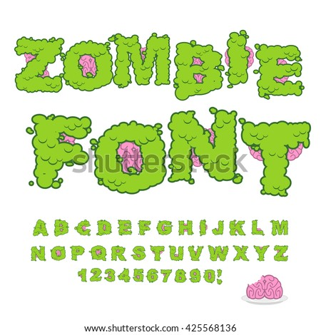 Zombie font. Scary Green letters and brain.  - stock vector