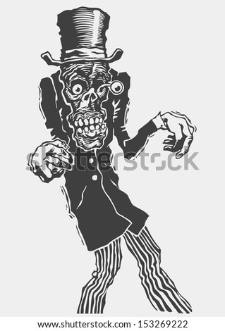 Zombie. funny character. linocut style. vector illustration  - stock vector