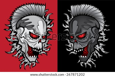 zombie ghost halloween skull with glowing eyes - stock vector