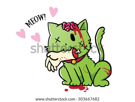 Zombie green cat giving a hand as gift, illustrator vector - stock vector