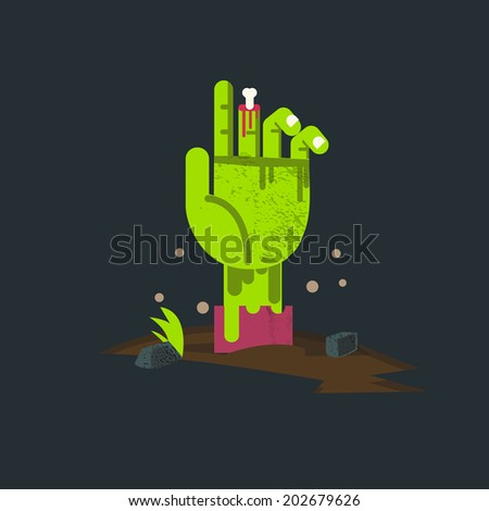 zombie hand from hell. undead hand - vector illustration - stock vector