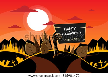 Zombie Hand Hold Board, Orange Autumn Woods, Halloween Dead Arms From Ground Two Way Forest Road Path Vector Illustration - stock vector