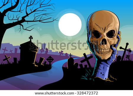 Zombie Hand Hold Dead Skull Head Undead Arm From Ground Graveyard Halloween Vector Illustration