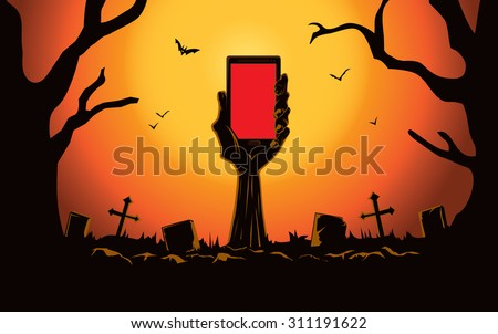 Zombie hand holding smartphone blank screen up from the grave in the cemetery at night. This illustration is Halloween theme - stock vector