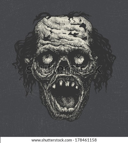 zombie head, hand drawn, vector eps 8