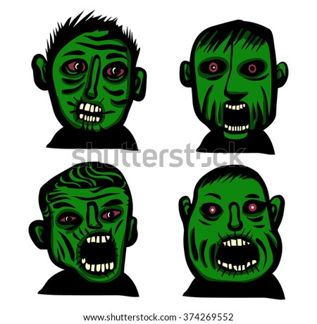 Zombie head set - stock vector