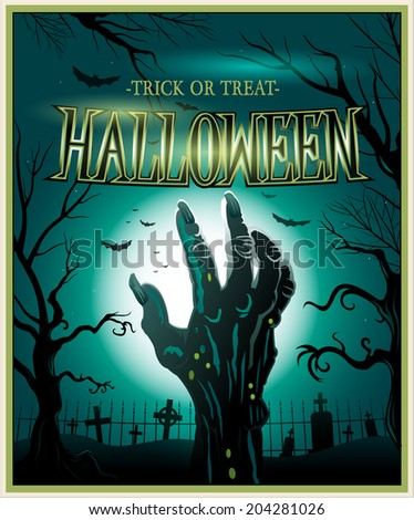 Zombie monster hand green Halloween invitation background - stock vector