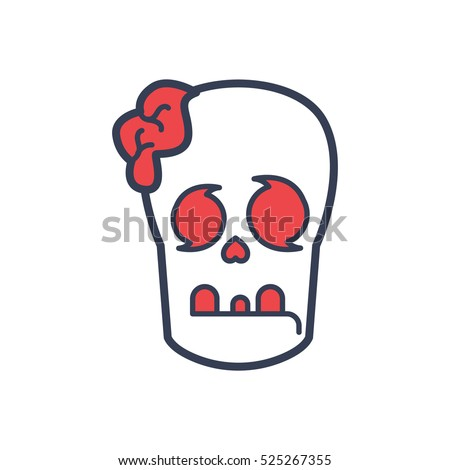 Zombie Monster Head Logo Design Template Stock Vector