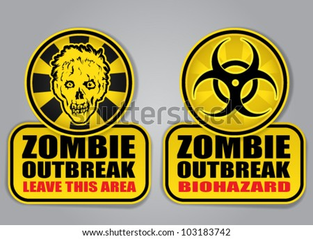 Zombie Outbreak Biohazard warning signals - stock vector