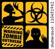 Zombie Outbreak Icons - stock vector