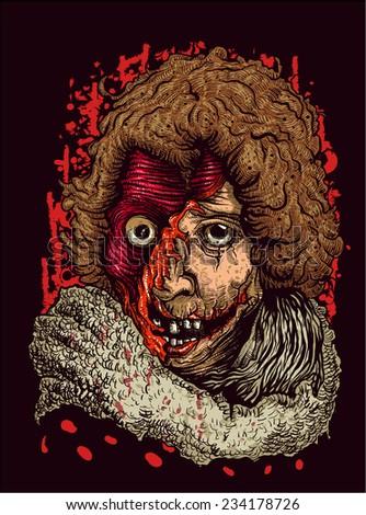 Zombie Portrait - stock vector