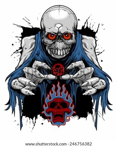 zombie skull - stock vector