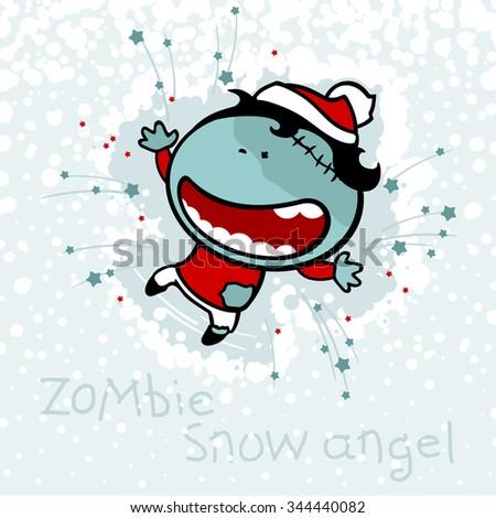 Zombie snow angel - stock vector