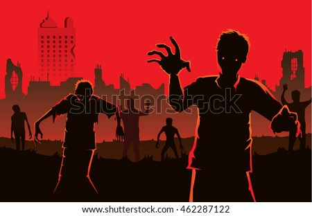 Zombie walking out from abandoned city. Silhouettes illustration for Halloween.