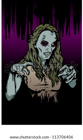 Zombie Witch - stock vector