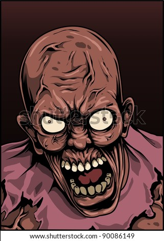 zombie with angry face - stock vector